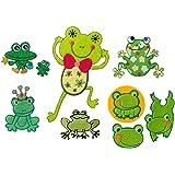 Kit Quick 311Écussons thermocollants Motif grenouilles, 6pièces, de 5,0x 4,0cm jusqu'à 7,5x 12,5cm En feutre, satin, broderie