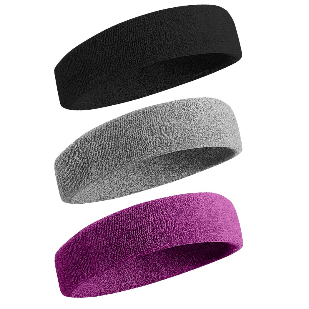 BEACE Sweatbands Sports Headband/Wristband for Men & Women - 3PCS / 6PCS Moisture Wicking Athletic Cotton Terry Cloth Sweatband for Tennis, Basketball, Running, Gym, Working Out by BEACE