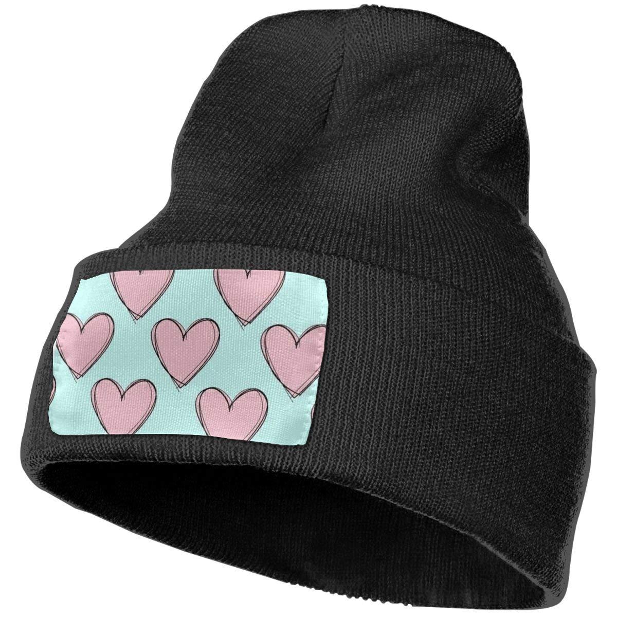 Yubb7E Hearts Warm Knit Winter Solid Beanie Hat Unisex Skull Cap