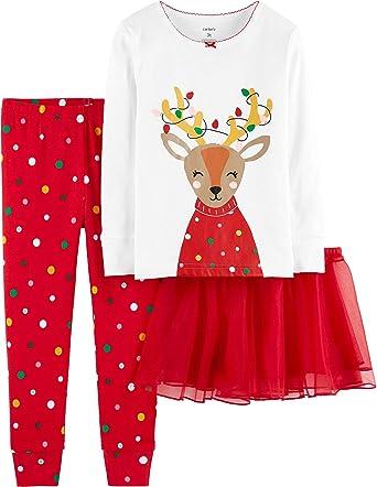 fa90cc641afa Amazon.com  Carter s Baby Girls  Christmas 3-Piece Cotton Pjs with ...