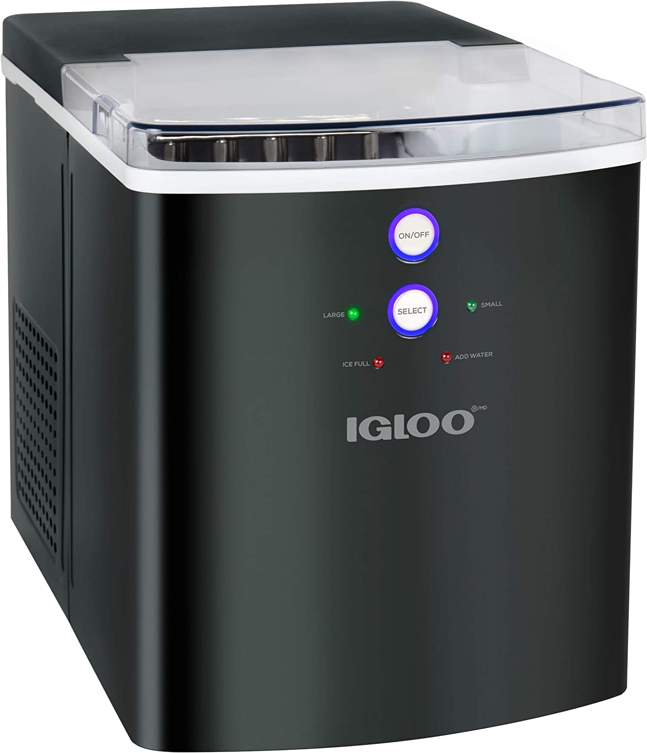 Igloo ICEB33BS 33-Pound Automatic Portable Countertop Ice Maker Machine, Black Stainless Steel