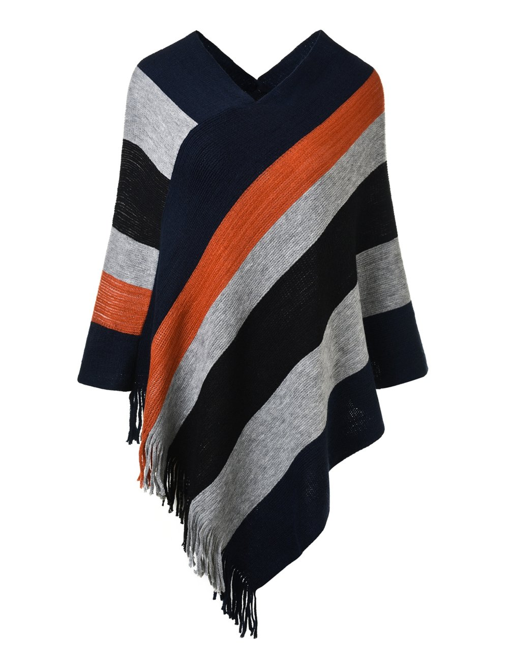 Ferand Women's Elegant Knitted Poncho Top with Stripe Patterns and Fringed Sides, Navy Blue & Black
