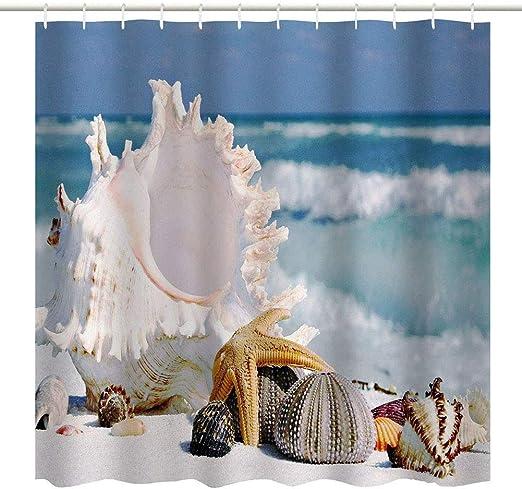 Shower Curtain Beach Ocean Sea Shell Starfish Fishing Net Theme Bathroom Decos