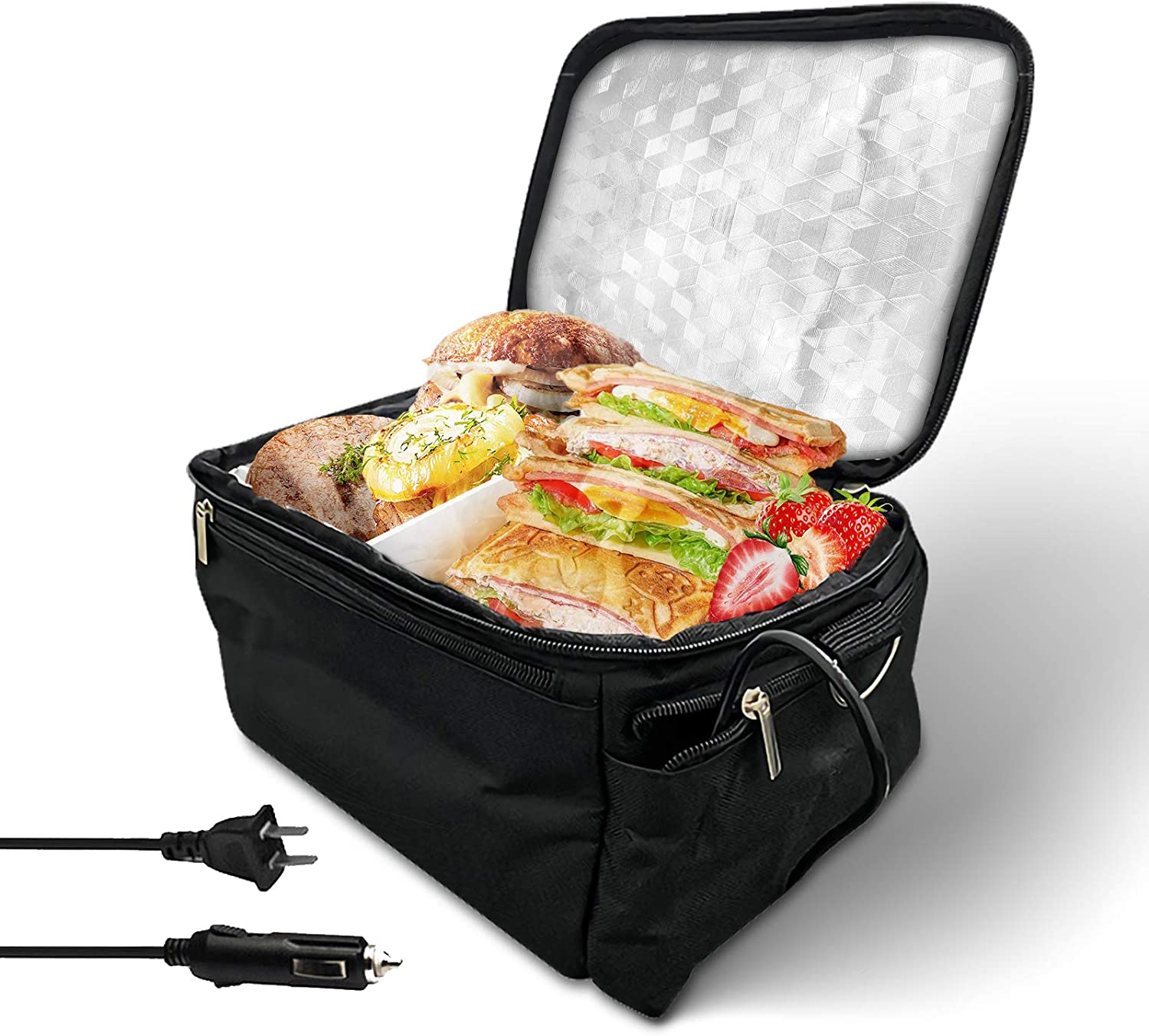 Portable Oven Heated Food Warming Tote, MUniqe Car Heating Lunch Box For Reheating & Raw Food Cooking in Office, Travel, Potlucks and Home Kitchen(12V Car Heating and 110V Office etc. Dual Use)