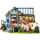Cute Room DIY Miniature Dollhouse Kit with Furniture,Wooden Doll House Plus Music Movement & LED Lights,1:24 Scale DIY…