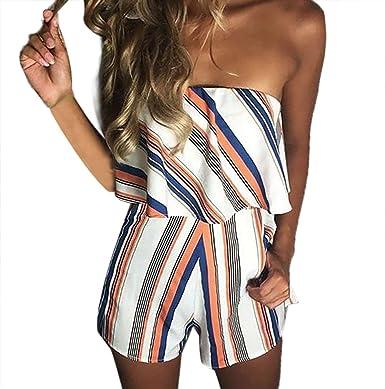ff163edea32 Women s Summer Casual Off Shoulder Playsuit Floral Print Ruffle Romper  Strapless Mini Bandeau Pockets Shorts Beach