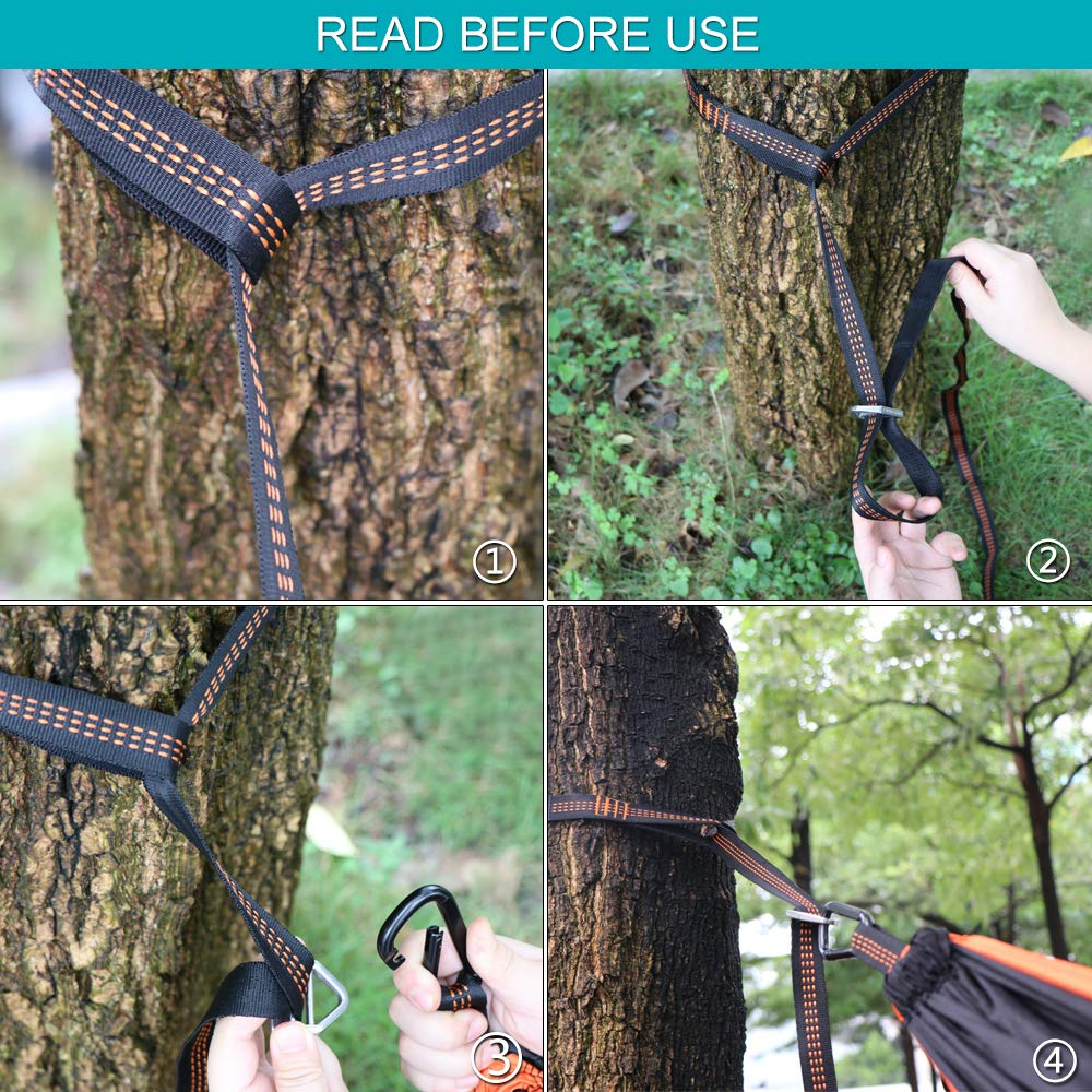 Anyoo Camping Double Hammock Lightweight Portable Parachute Nylon Hammock with Tree Straps for Backpacking Hiking Travel Garden