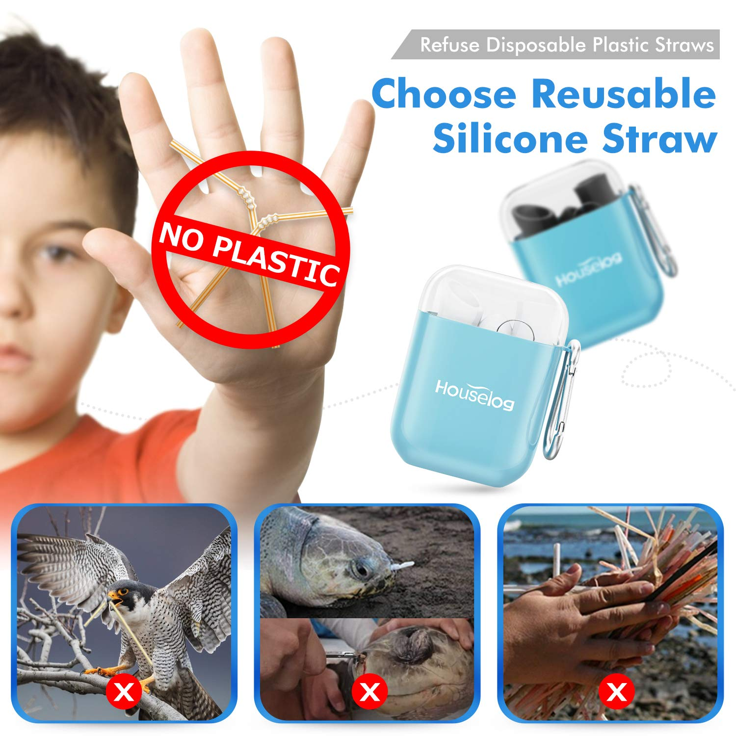 Houselog Silicone Straws,Big Size Reusable Collapsible Straw Foldable Portable Tube with Cleaning Brush for Drinking and Yogurt 2PCS