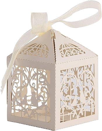 Trimming Shop 50pcs Barrita Regalo Detalle Caja precisa Corte Caramelo Pájaros Enamorados Boda Fiesta Cumpleaños Baby Shower Evento con Listones Beige: Amazon.es: Hogar