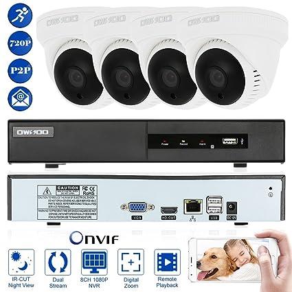 OWSOO 8 Canal Full 1080P NVR Grabador de Video + 4 HD 720P Cámara IP Domo