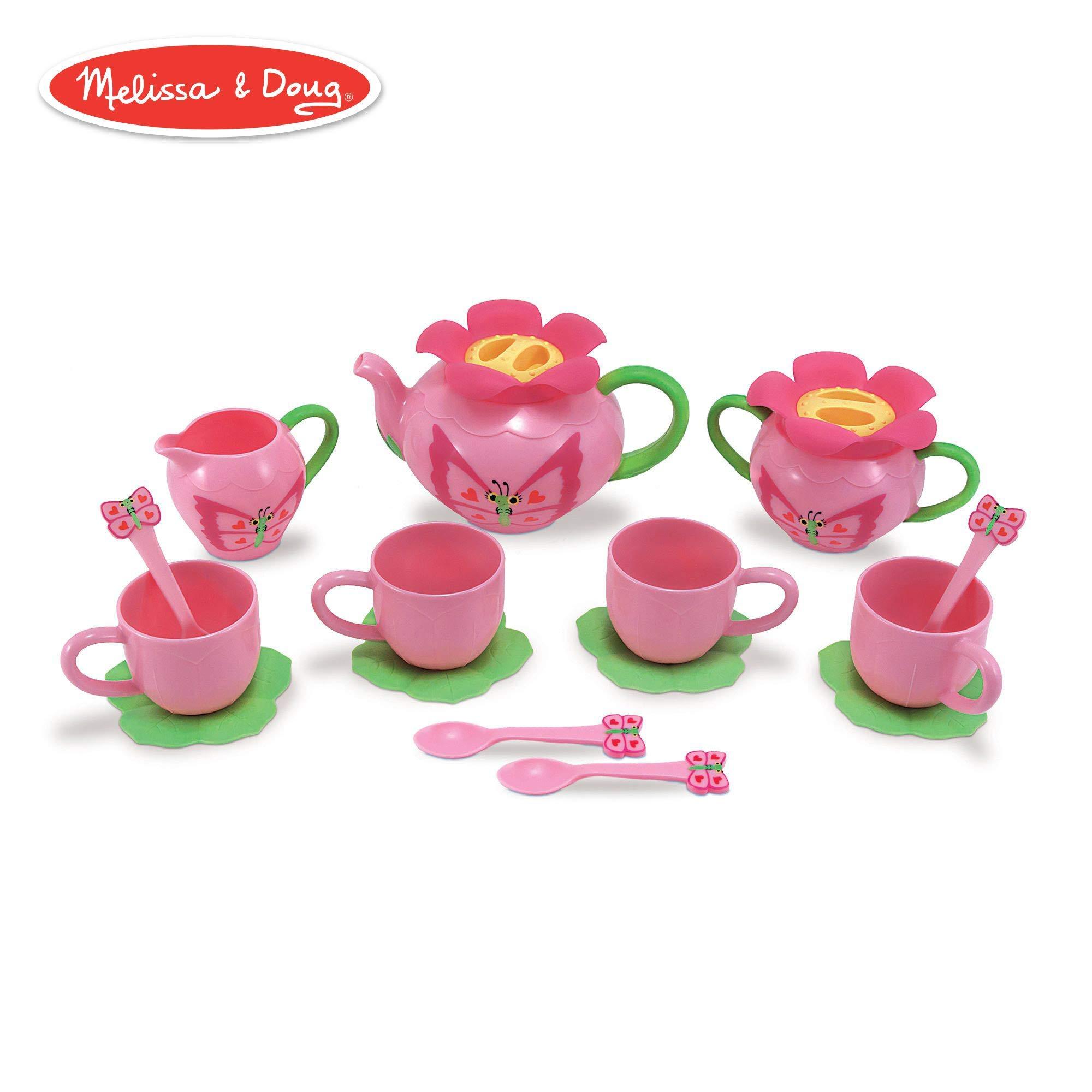Melissa & Doug Bella Butterfly Pretend Play Tea Set (Pretend Play, Food-Safe Material, BPA-Free, Durable Construction, 15.5'' H x 12'' W x 4.5'' L) (Renewed)