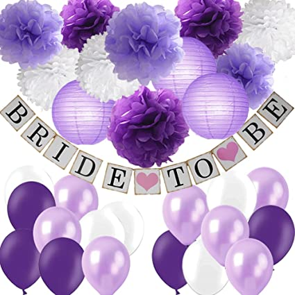 c776be1711e9 Purple Bridal Shower Decorations Kit-Bride to Be Banner White Lavender  Purple Tissue Flower Pom