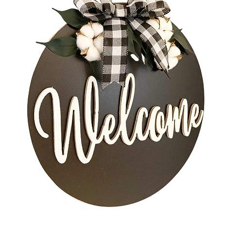 Welcome door hangerwreath buffalo plaid gift fall door hanger year around wreath