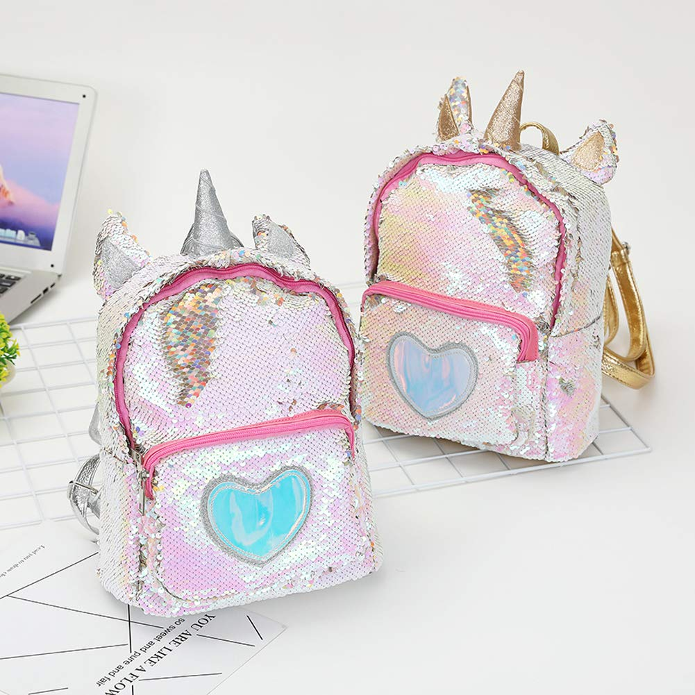Amazon.com: Cute Cartoon Unicorn Sequins Backpack PU Leather Girl Student Schoolbag: Home & Kitchen