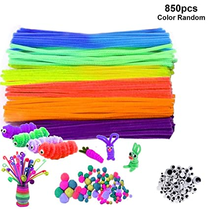 Pipe Cleaners Bulk 850 Pcs Craft Pipe Cleaners Supplies Set 300pcs Chenille Stems 300pcs Self Sticking Wiggle Googly Eyes And 250pcs Pompoms For