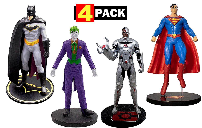 Batman, Superman, Cyborg & The Joker Premium Figure Set 4-Pack | DC Comics Collectible Toy