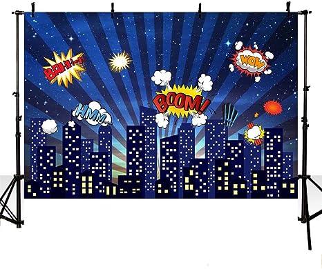 Mehofoto Fotohintergrund Superhelden Design Stadtbau Kindergeburtstag Hintergrund Für Fotografie 17 8 X 152 Cm 8x6 Stil 1 Audio Hifi