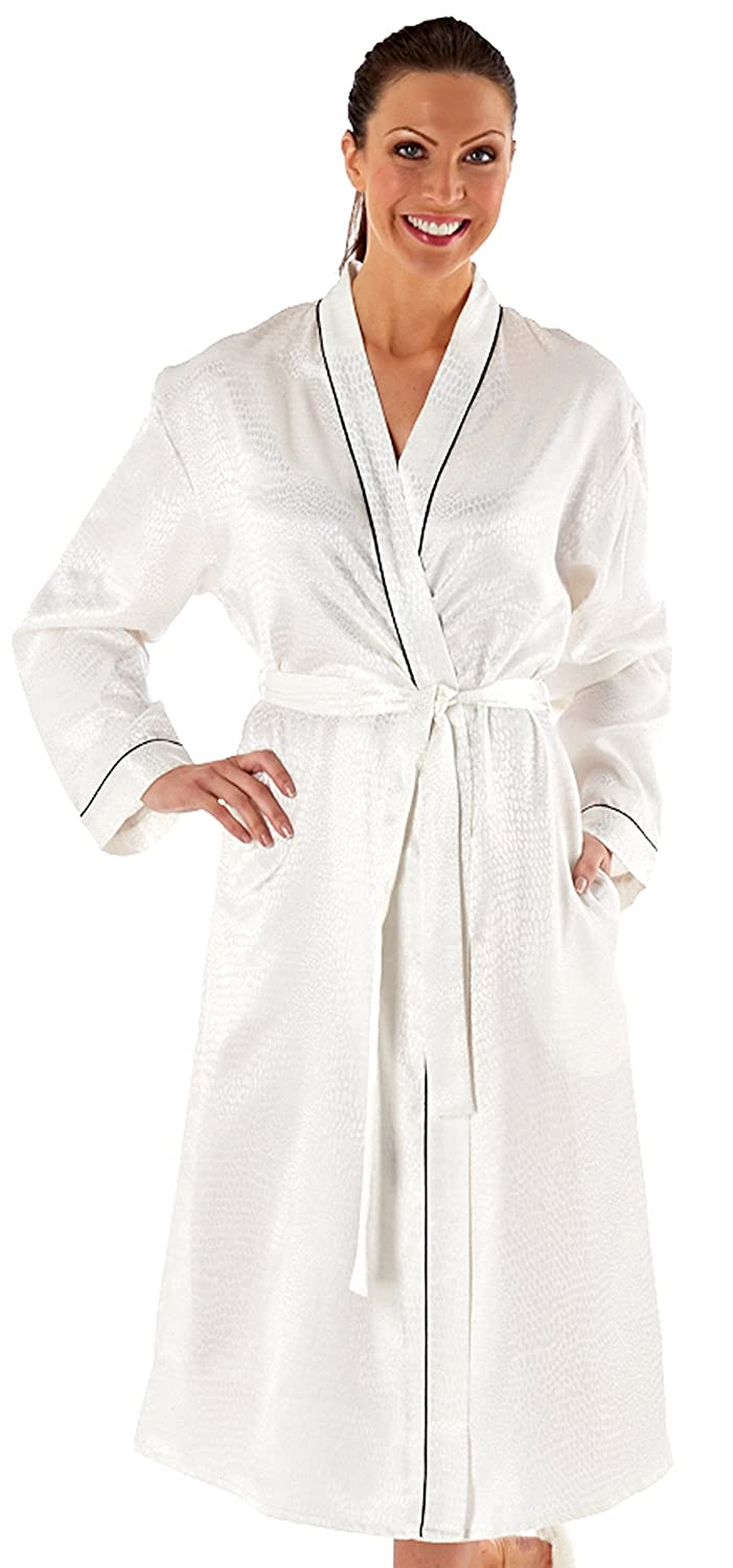 c22011371808a Ladies Womens Dressing Gown Brushed Satin Black Piping (14 16)   Amazon.co.uk  Clothing