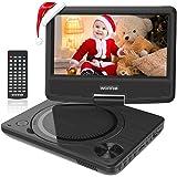 """WONNIE 9.5"""" Lecteur DVD Portable avec écran Rotatif de 7,5"""" à 270°, Carte SD et Prise USB avec Charge directe Formats/RMVB / AVI / MP3 / JPEG, Parfait pour Enfants (Noir)"""