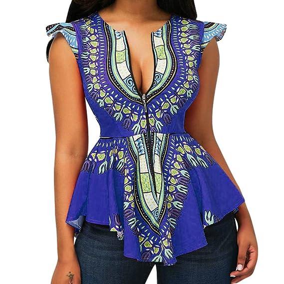 ALIKEEY Las Mujeres De Cintura Estilo Étnico Impreso Irregular Dobladillo Corto Sin Mangas Blusa Top Asimétrico