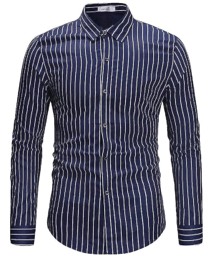 Joe Wenko Mens Long-Sleeve Button-Down Slim Stripe Casual Formal Shirt
