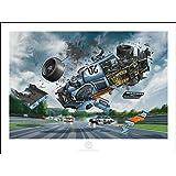 """Garbo Studio Aus Steve McQueen in Le Mans – Perfekter Rennwagen mehrfarbiger Satin-Kunstdruck """"Porsche #20 Fliegt durch die Luft"""" - McQueen Porsche 917 Design Raumdekoration Wandgemälde - 80 x 60 cm"""