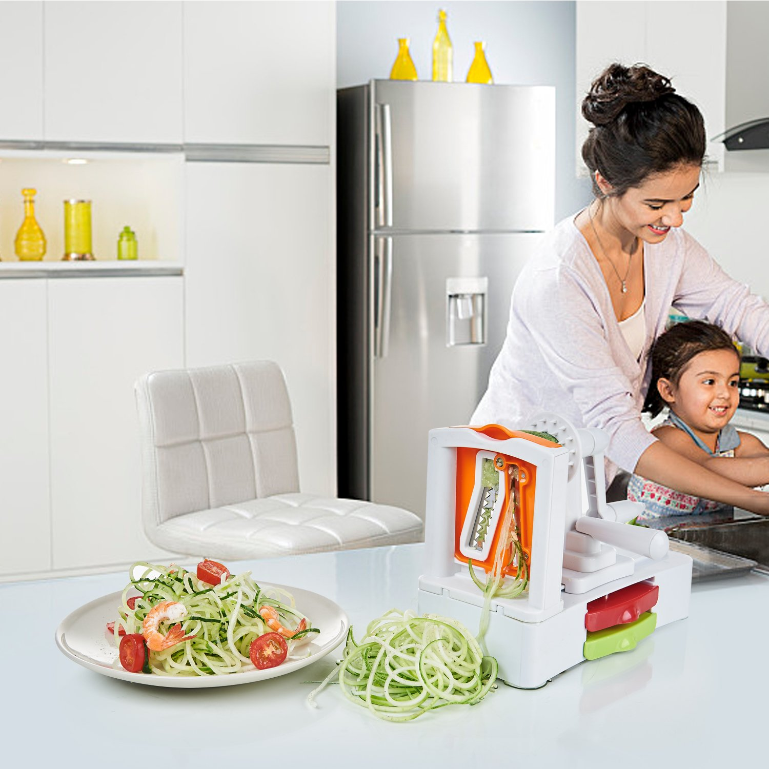 Spiralizer Vegetable Slicer - 5-Blade Veggie Spiral Slicer with Powerful Suction Base, Fit Kitchen Veggie Pasta Salad Creations, Cut and Shred Zucchini Zoodles, Cucumbers, Onions, BPA Free