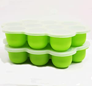 Silicone Ice Bold Tray (Green) with Lid, 2 Packs 10 Ice Cubes Silicone Gel Flexible Mold and Chilled Free with Spill-Resistant Removable Lid, Baby Food Freezer Tray