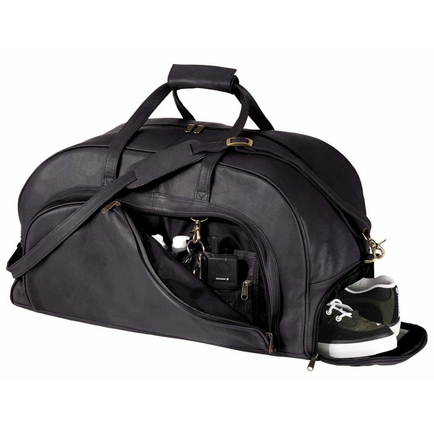 Royce Leather Organizer Duffel Bag with Shoe Compartment, Black
