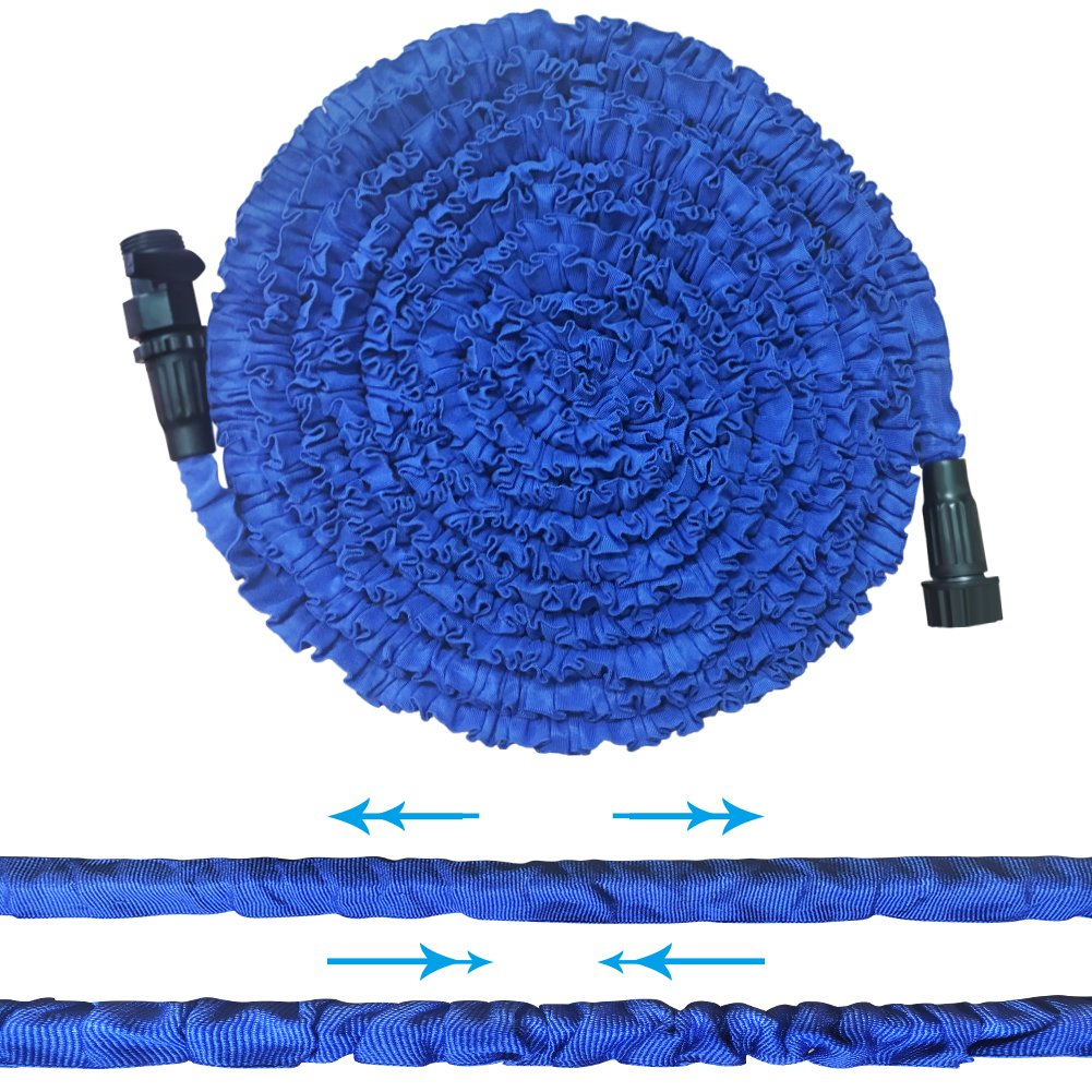 SLDL Expandable Water Hose, Upgraded Lightweight 50ft Garden Hose with Double Layer Latex Retractable Collapsible, On/Off Valve, Extra Strength Fabric Flexible Expanding to 3 Times, Blue