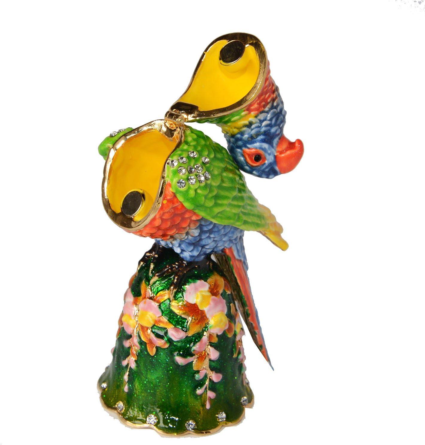 Jiaheyou Macaw Parrot Trinket Box Enameled Hinged Jewelry Box Metal Ornament Gifts Bird Figurine Tabletop
