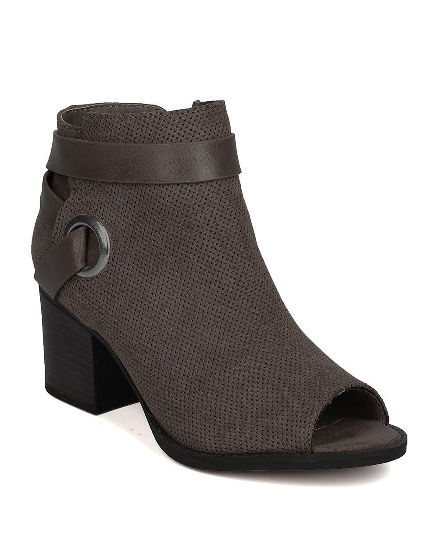 Qupid Women Faux Suede Peep Toe Wraparound Chunky Heel Bootie GA17 - Taupe (Size: 6.0)