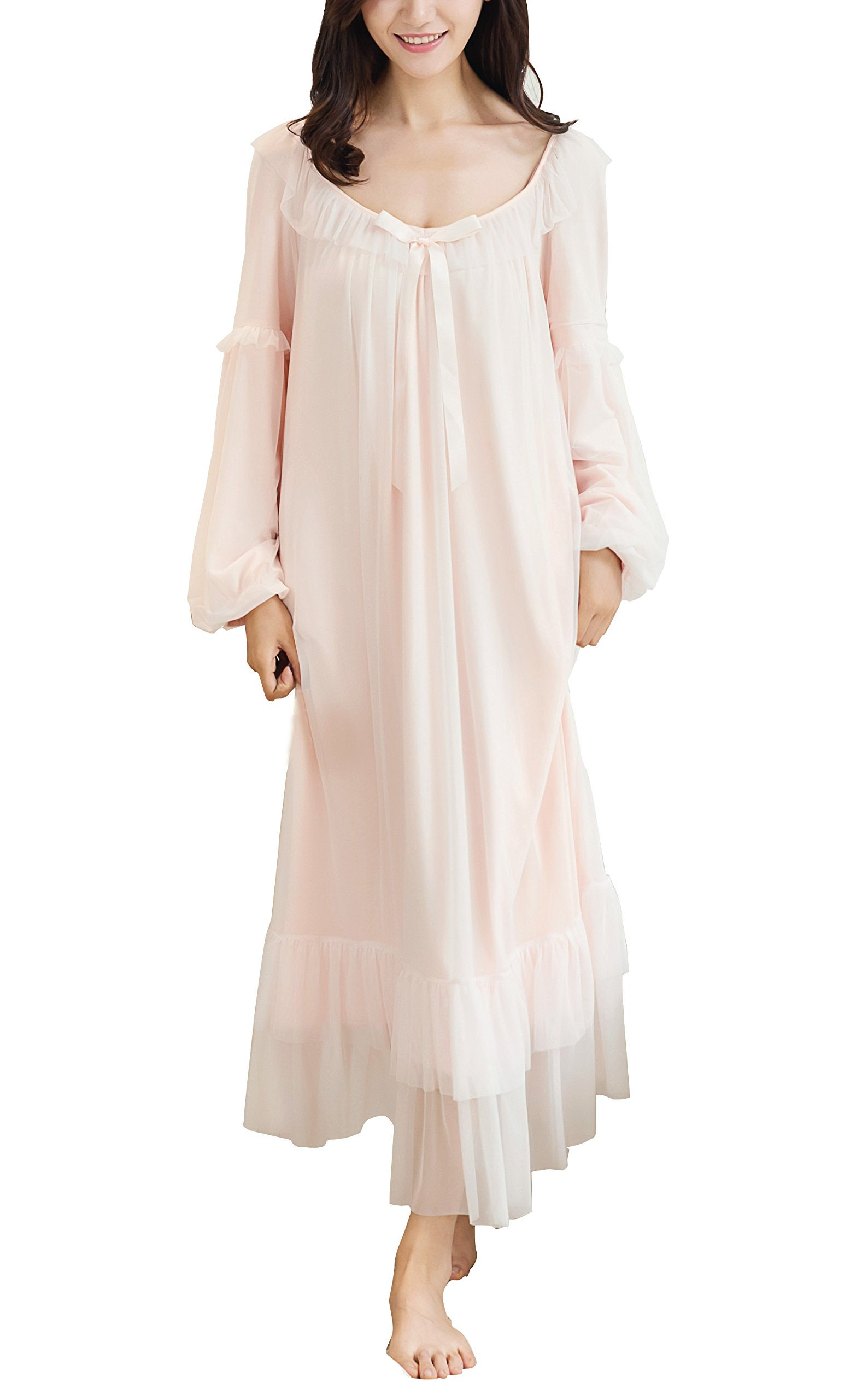 Camellia12 Womens Victorian Style Long Mesh Nightgown,Long Sleeve Wedding Nightie Sleepwear