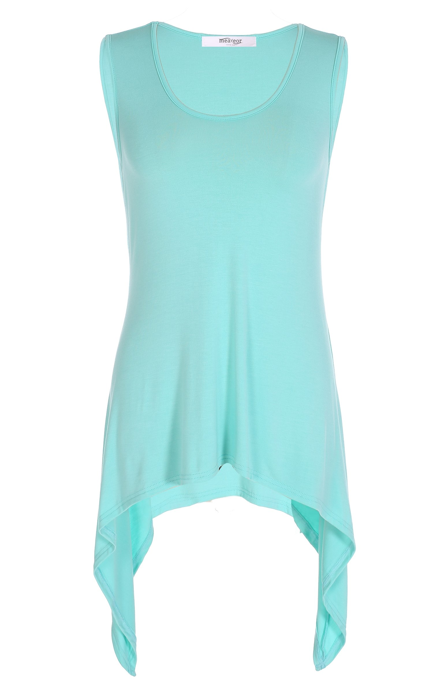 Meaneor Women's Sleeveless Round Neck Solid Basic Tunic Tank Top With Flared Hem Style 2 Green XL