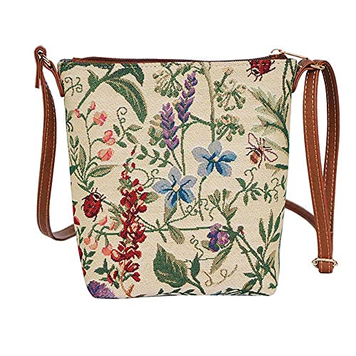 Ladies Garden Flower Tapestry Lightweight Top Zip Cross body Bag Sling Bag  with Adjustable Strap by Signare with Sunflower Poppy Butterfly Dragonfly ( SLING ...