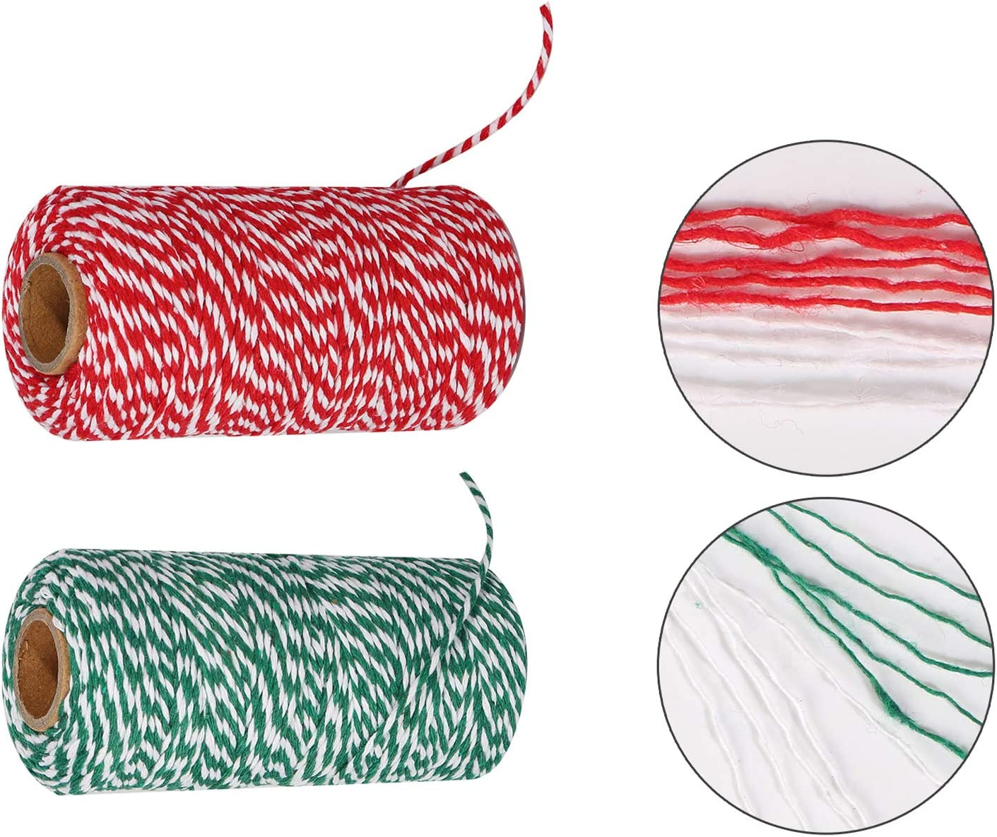 Maosifang Cotton Bakers Twine Cord String 2 mm Candy Rope Ribbon Twine for Christmas Party DecorationsGift Wrapping Arts Crafts 656 Feet,2 Rolls