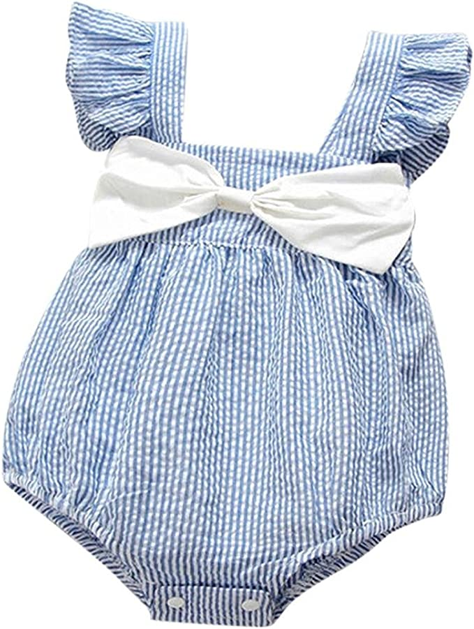 Newborn Baby Girls Sleeveless Striped Bowknot Clothes Jumpsuit Romper Outfits