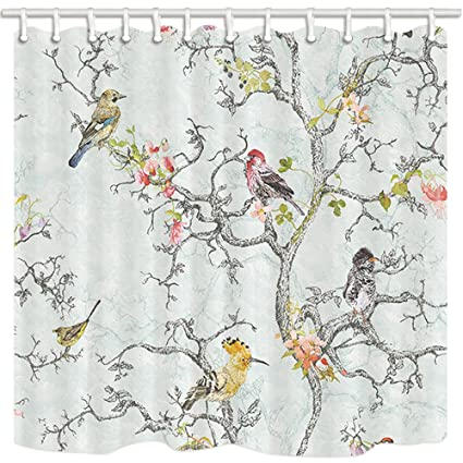NYMB Asian Style Shower Curtain By Spring All Kinds Of Birds And Flower On Tree