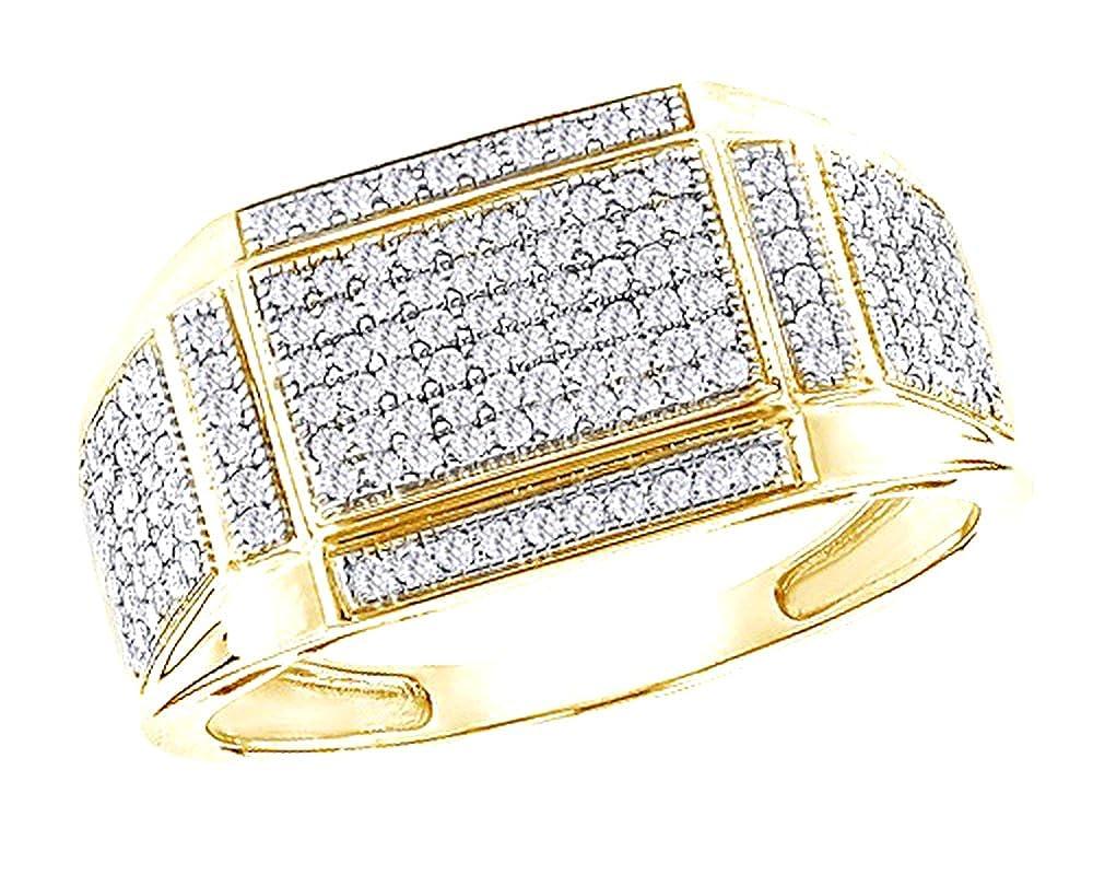 Wishrocks 0.65 Ct Round Cut CZ Mens Wedding Band Ring Hip Hop 14K Gold Over Sterling Silver