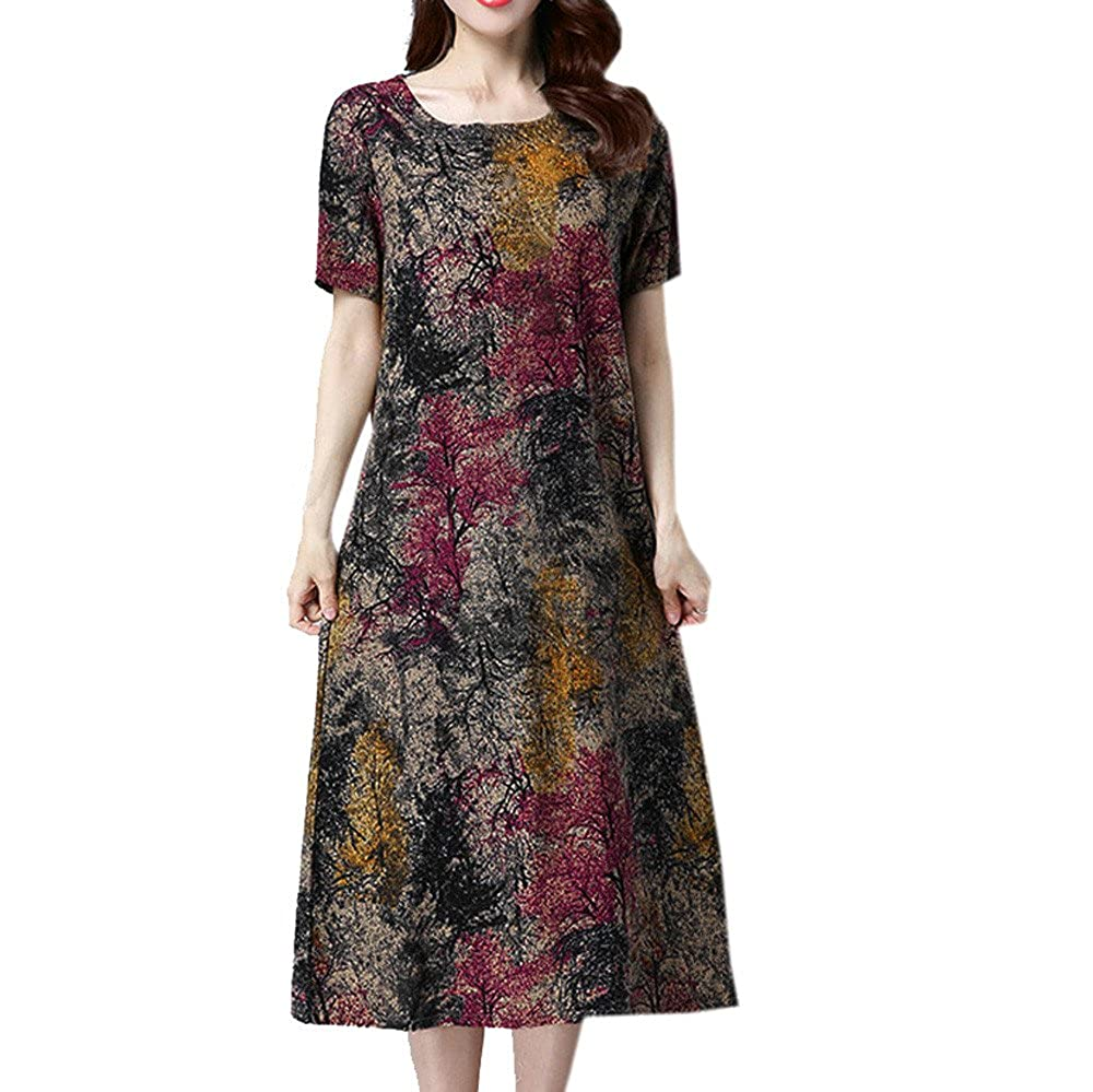 ef718fc091be Women's Plus Size Dress Short Sleeve O Neck Pocket Skirt Cotton Linen  Printed Loose Casual Dress at Amazon Women's Clothing store: