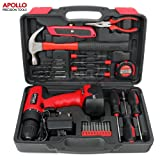 Apollo 26 Piece Household Tool Kit Including 12V Cordless Drill Driver with 800 mAh NiCad Rechargeable 16 Position Keyless Torque Clutch, Variable Speed Switch, Drill & Screwdriver Accessory Set & 25 Piece Most Reached for Hand Tools including Heavy Duty 13oz Hammer – all in Sturdy Storage Box