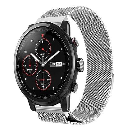Xiaomi Huami Amazfit Stratos 2/2S Correas, Zolimx Magnética de Acero Inoxidable Reloj Inteligente Banda Sport Pulsera de Huami Amazfit Smartwatch 2