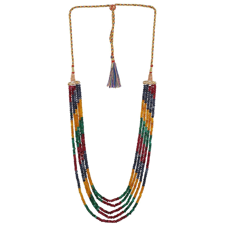 Ratnavali Jewels Multi color Quartz Beads Stone Strand Fashion Necklace Women
