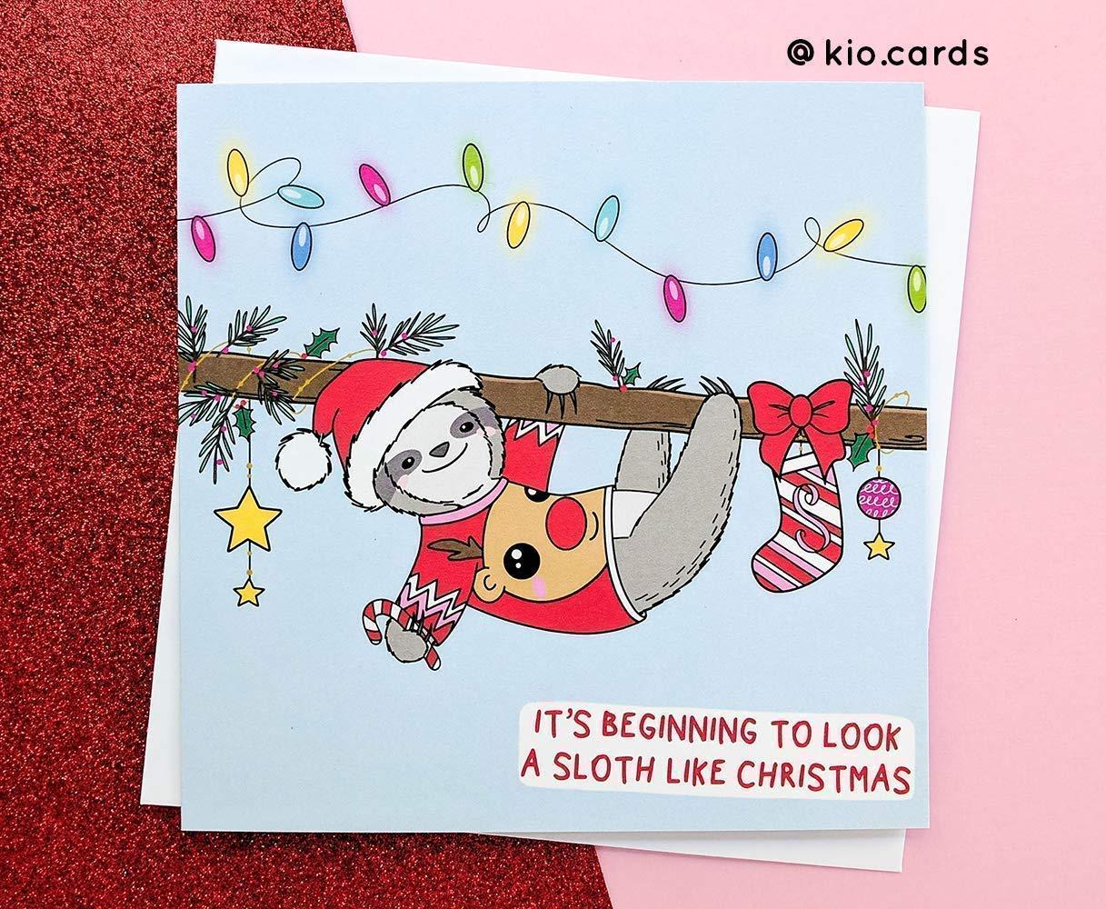 Sloth Gifts Punny Christmas Sloth Christmas Card
