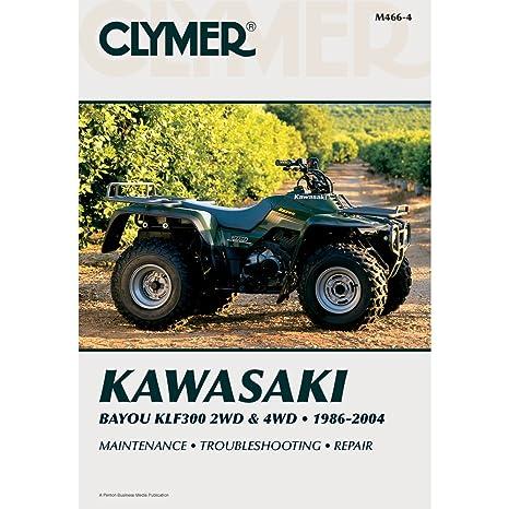 amazon com clymer atv repair manual kawasaki klf 300 1986 2004 rh amazon com Kawasaki Bayou 300 Owner's Manual 1989 Kawasaki Bayou Manual PDF