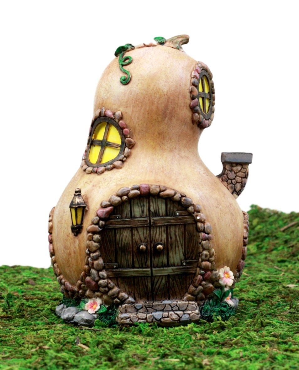 Ebros Gift Enchanted Fairy Garden Miniature Halloween Gourd Cottage House Figurine 6.25 H Do It Yourself Ideas for Your Home