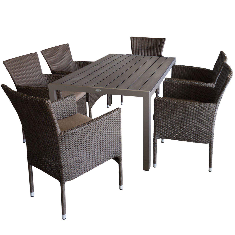 7tlg. Gartengarnitur Aluminium Gartentisch 150x90cm mit Polywood Tischplatte Champagnerfarben stapelbare Polyrattan Gartensessel braun-meliert inkl. Sitzkissen