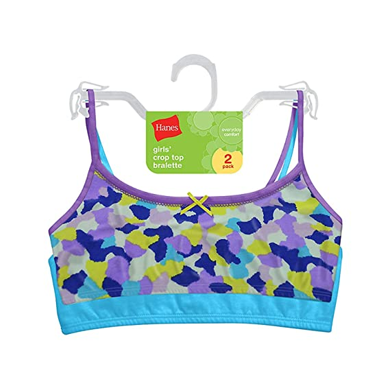 da69ff2780a Hanes Girl's Crop Top Bralette (Pack Of 2) - -: Amazon.co.uk: Clothing