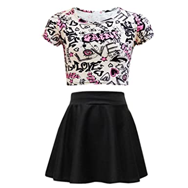 25d622c280dd3f Amazon.com  Kids Girls Love Graffiti Crop Top   Black Skater Skirt Set 7 8 9  10 11 12 13 Yr  Clothing