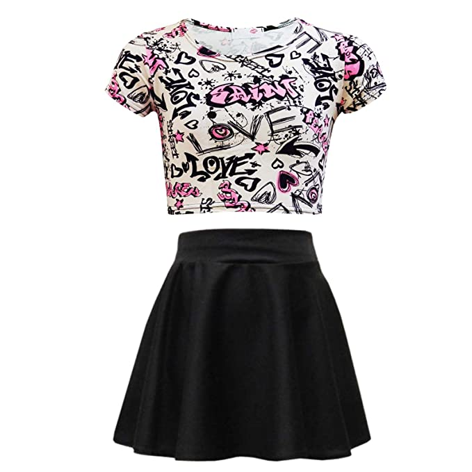 eee62cf26f607 Kids Girls Love Graffiti Crop Top & Black Skater Skirt Set 7 8 9 10 11 12  13 Yr